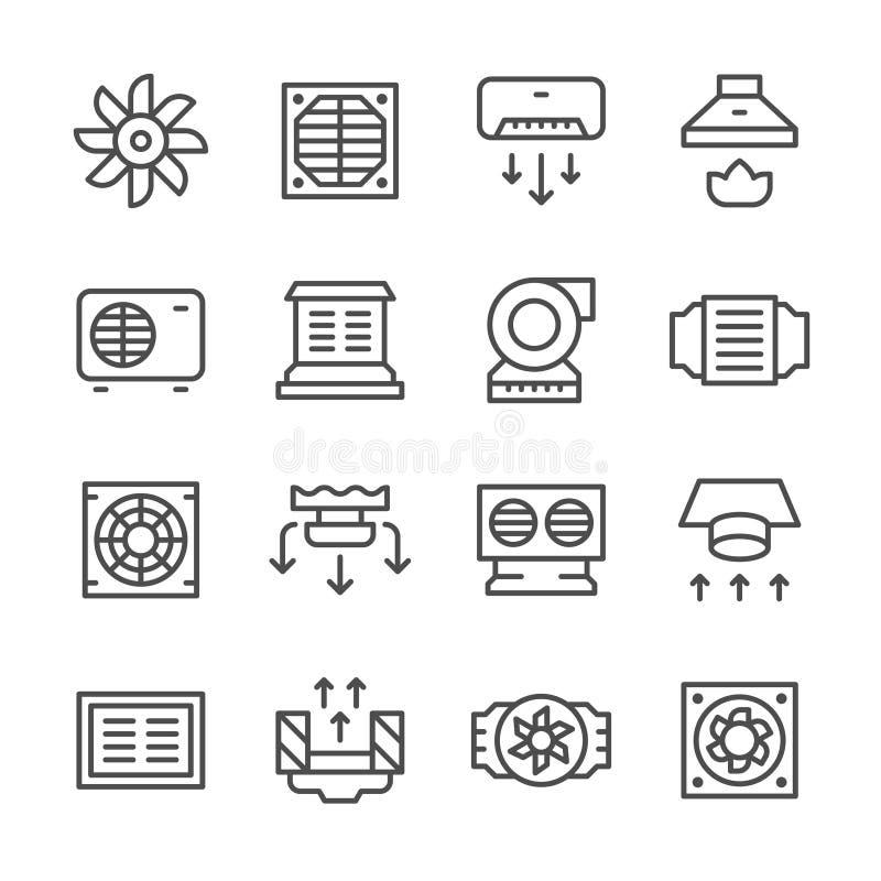 Ustalone kreskowe ikony wentylacja ilustracja wektor