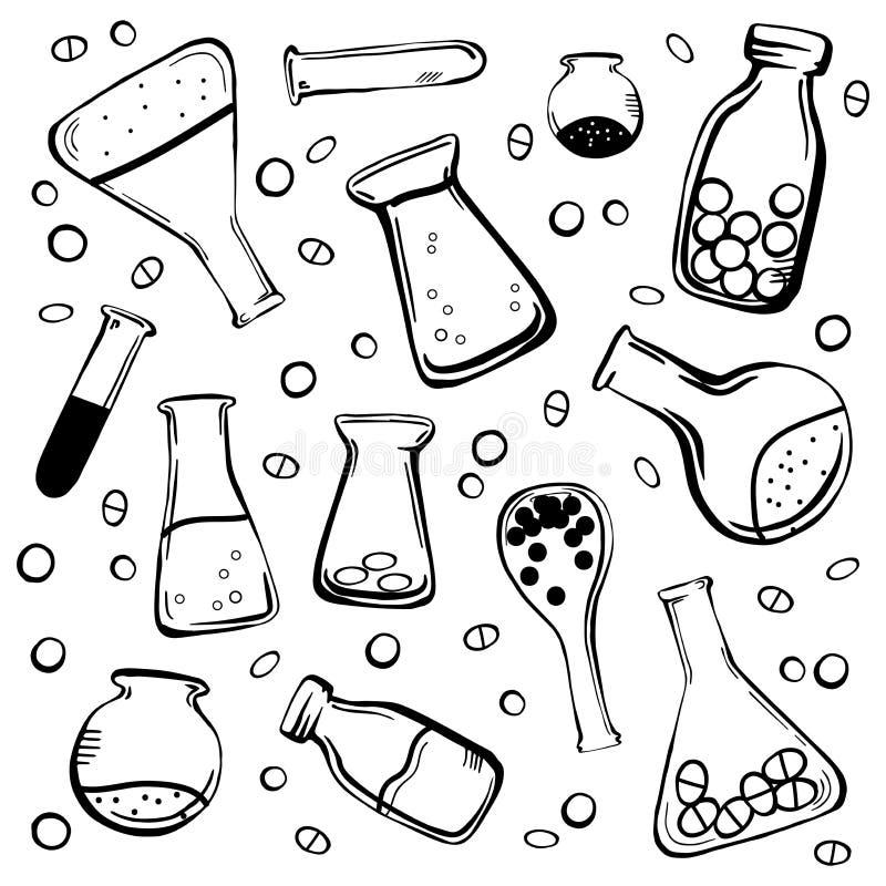 Ustalone medyczne butelki i kolby ilustracja wektor