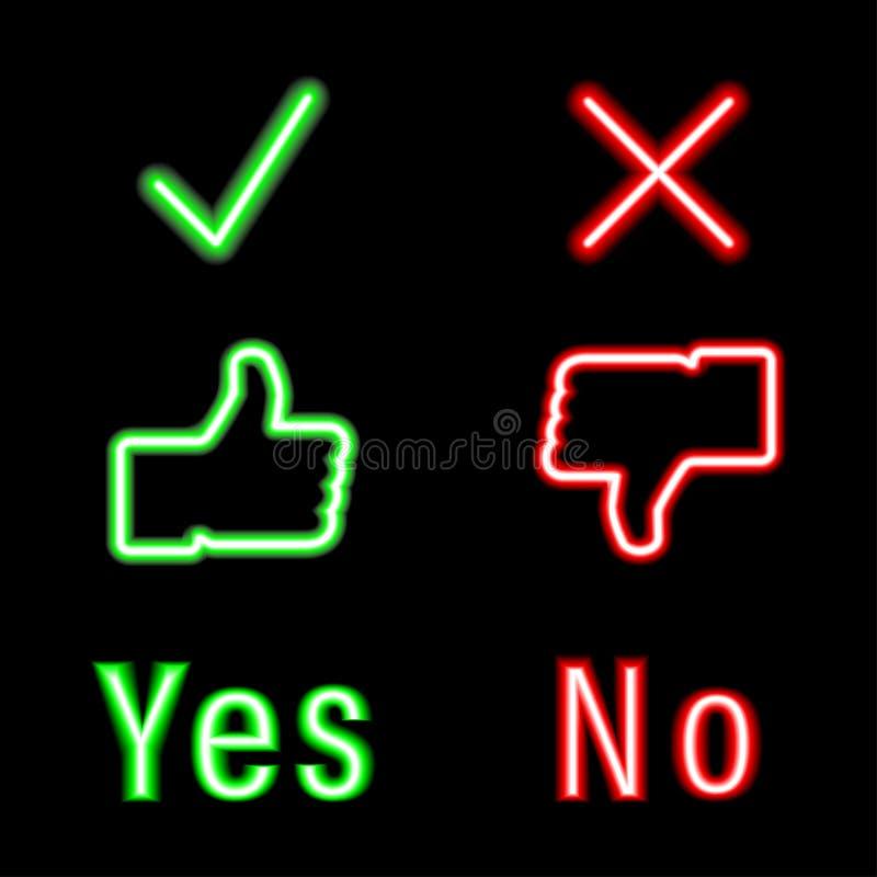 Ustalone neonowe ikony zielone i czerwony kolor Tak, nie czek ikon ocena ilustracja wektor