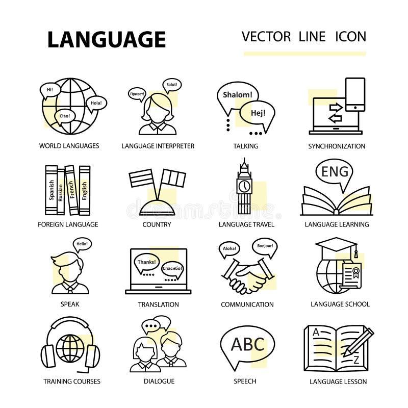 Ustalone nowożytne liniowe ikony na temacie uczyć się języka obcego ilustracja wektor