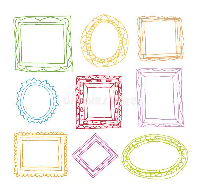 Ustalone obrazek ramy, ręka rysująca wektorowa ilustracja ilustracji