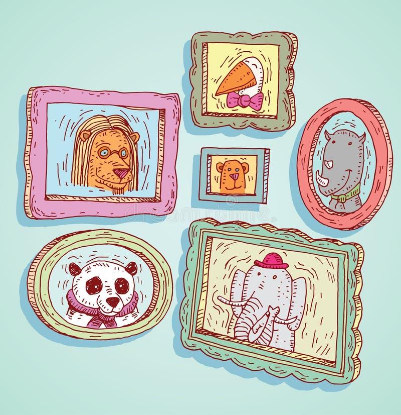 Ustalone obrazek ramy z zwierzętami portrety, ręka rysująca wektorowa ilustracja royalty ilustracja