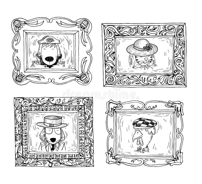Ustalone obrazek ramy z zwierzętami portrety, ręka rysująca wektorowa ilustracja ilustracja wektor