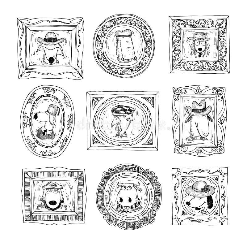 Ustalone obrazek ramy z zwierzętami portrety, ręka rysująca wektorowa ilustracja ilustracji