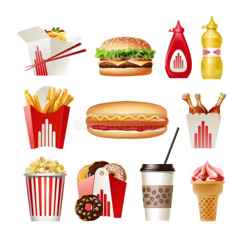 Ustalone piękne kreskówek ikony fast food royalty ilustracja