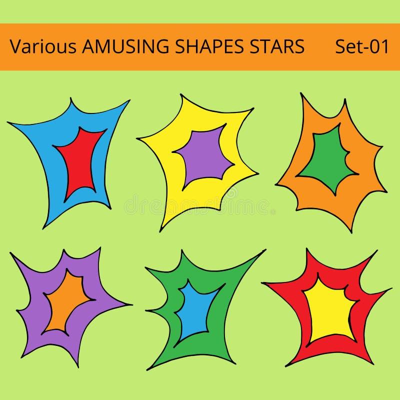 Ustalone różnorodne śmieszy kształt gwiazdy ilustracji