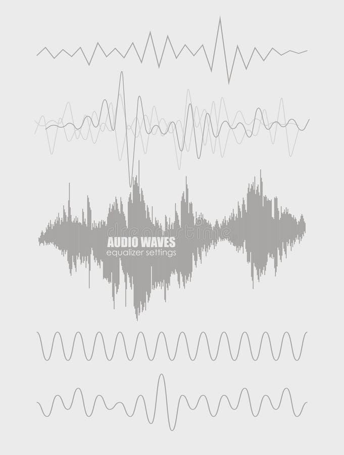 Ustalone rozsądne fala Audio technologia, pulsu musical Pokrywa dla muzyka śladu lub albumu Wektorowa ilustracja EPS10 ilustracja wektor