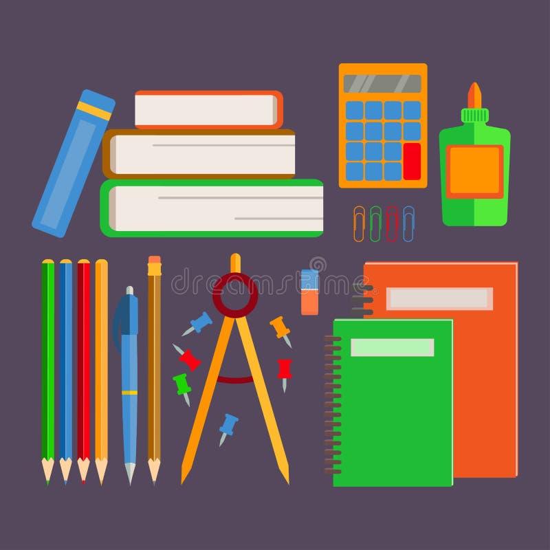 Ustalone szkolne dostawy royalty ilustracja