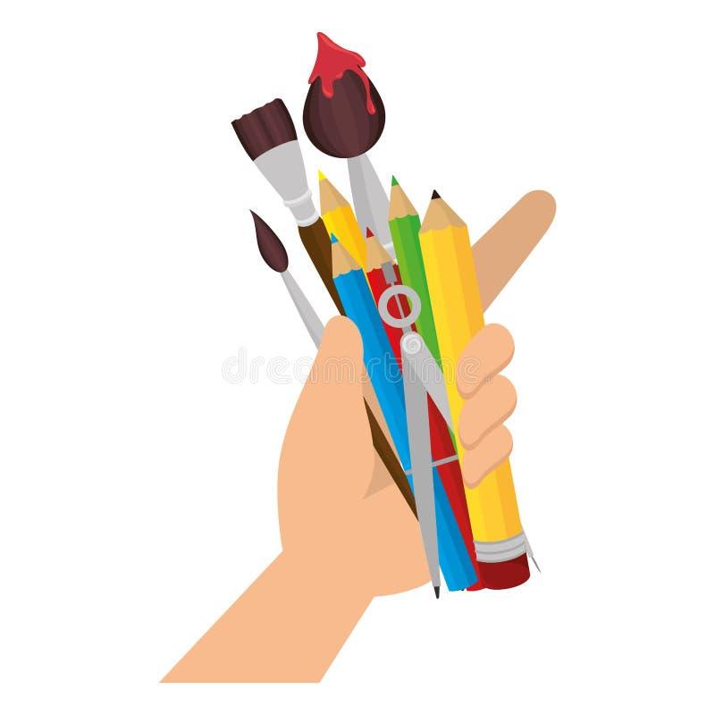 ustalone szkolnych dostaw ikony ilustracja wektor