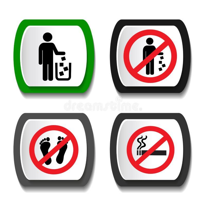 Ustalone zakaz ikony ilustracji