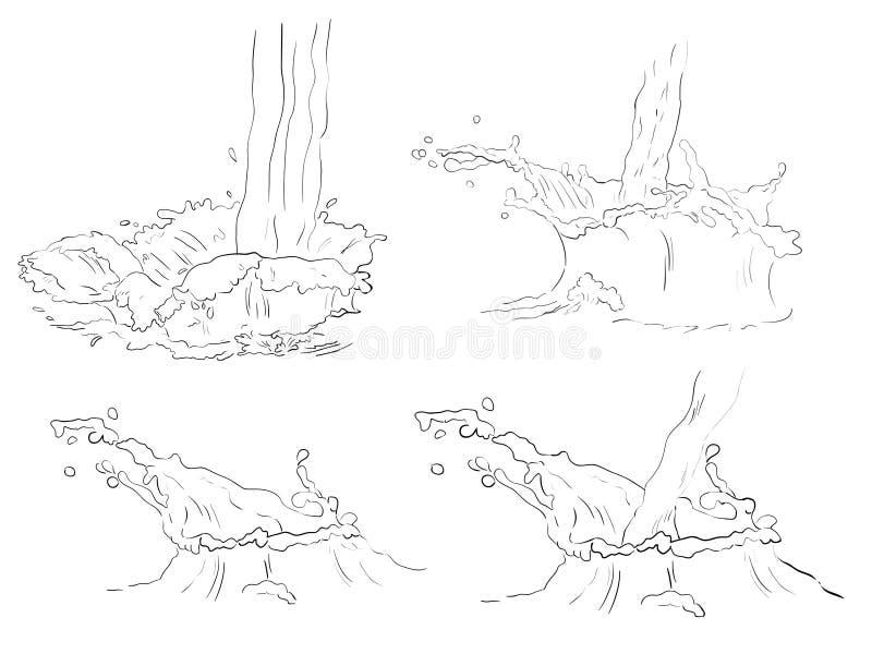 Ustalonego doodle świeży pluśnięcie i przepływ ilustracja wektor