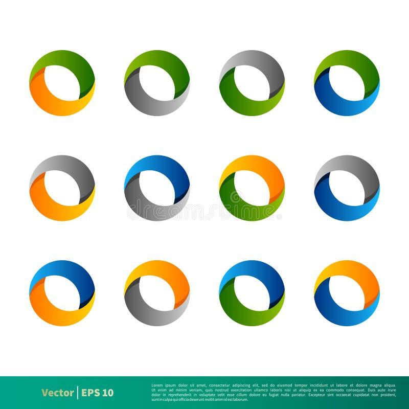 Ustalonego Geometrycznego okręgu 3D ikony logo Wektorowego szablonu Ilustracyjny projekt Wektor EPS 10 ilustracji