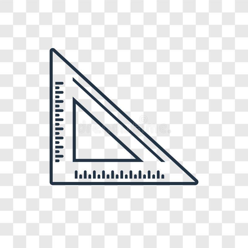 Ustalonego kwadratowego pojęcia wektorowa liniowa ikona odizolowywająca na przejrzystych półdupkach royalty ilustracja