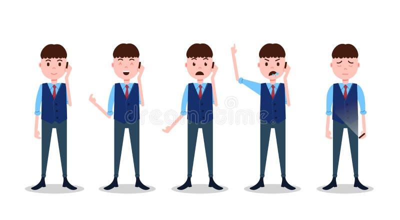 Ustalonego nastoletniego chłopiec charakteru różne pozy i emoci rozmowy telefonicza garnituru męski szablon dla projekt animaci i ilustracja wektor