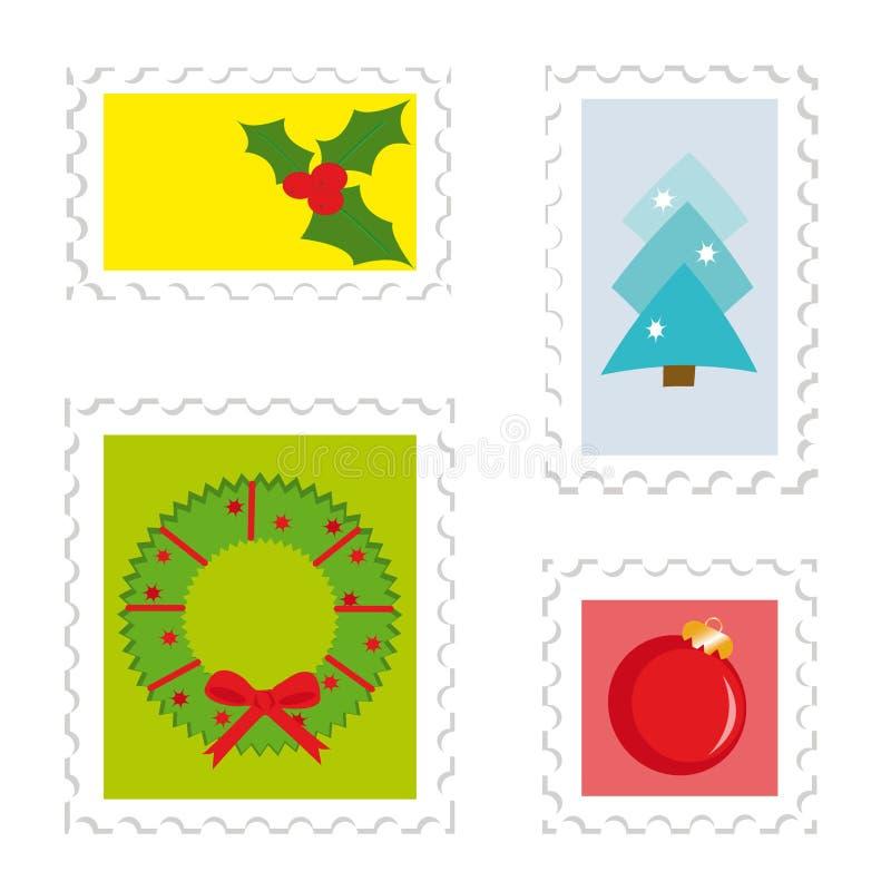 ustalonego opłata pocztowa 2 znaczka royalty ilustracja