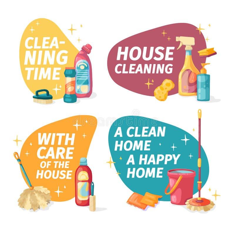 Ustalonego projekta sztandaru Domowy czy?ci? z czy?ci produktami Kresk?wki gospodarstwa domowego ilustracyjne substancje chemiczn ilustracja wektor