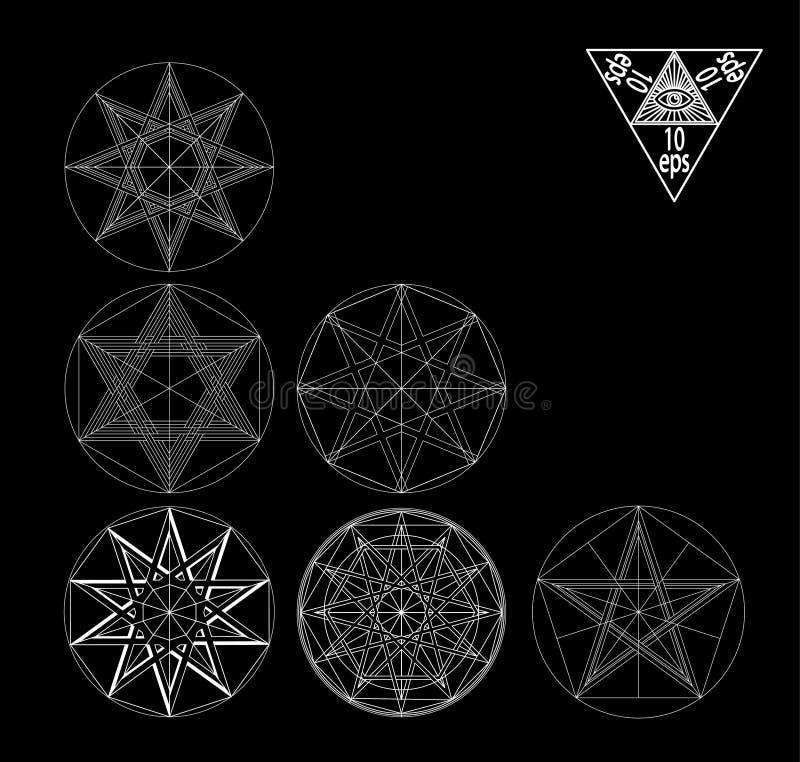Ustalonej świętej geometrii elementów abstrakcjonistyczny wektor ustawia odosobnionego na czarnym tle ilustracji