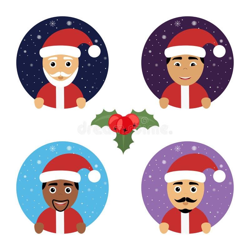 Ustalonej round wektorowej ikony Bożenarodzeniowy nowy rok z Święty Mikołaj różnymi narodowościami Nowożytny płaski projekt ilustracja wektor