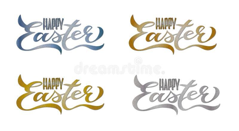 4 Ustalonej Szczęśliwej Wielkanocnej karty: Ręcznie pisany literowanie royalty ilustracja