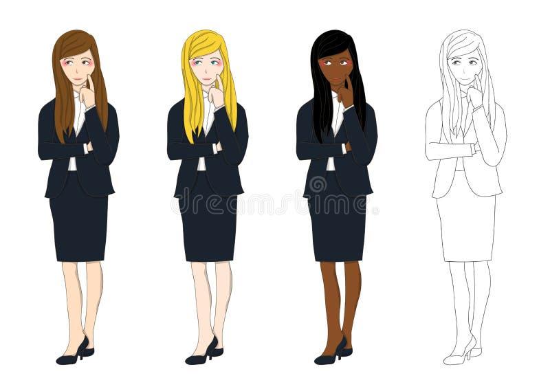 Ustalony Śliczny Biznesowej kobiety główkowanie robić decyzi Pełna ciało wektoru ilustracja royalty ilustracja