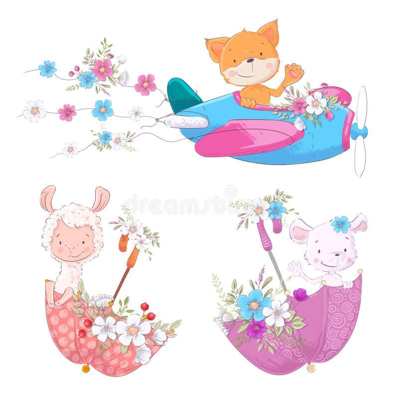 Ustalony śliczny kreskówek zwierząt lisa Lama i mysz na parasolach z kwiatów dzieci clipart i samolocie royalty ilustracja