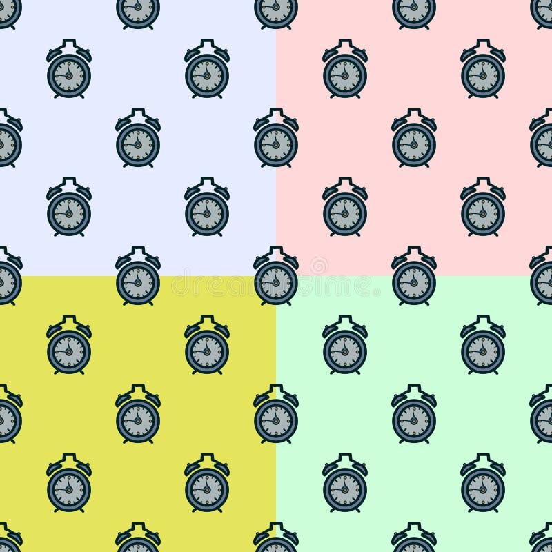 Ustalony bezszwowy deseniowy budzik na kolorowym tle royalty ilustracja