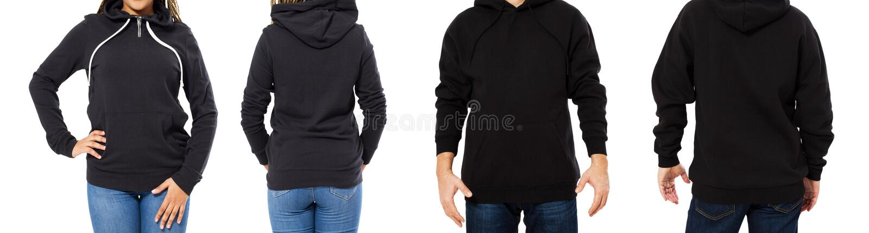 Ustalony czarny mockup odizolowywający hoodie przód i tylni widoki - mężczyzna i kobieta w eleganckiej czarnej bluzie sportowej w fotografia royalty free