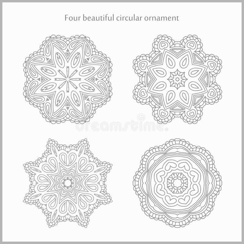 Ustalony delikatny i lekki kółkowy ornament mandala elementu dekoracyjny rocznik Set piękni etniczni, orientalni ornamenty, ilustracja wektor