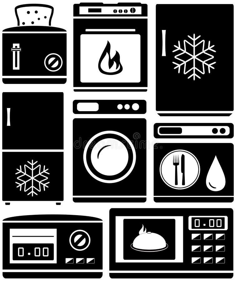 Ustalony domowy urządzenie dla kuchni ilustracja wektor