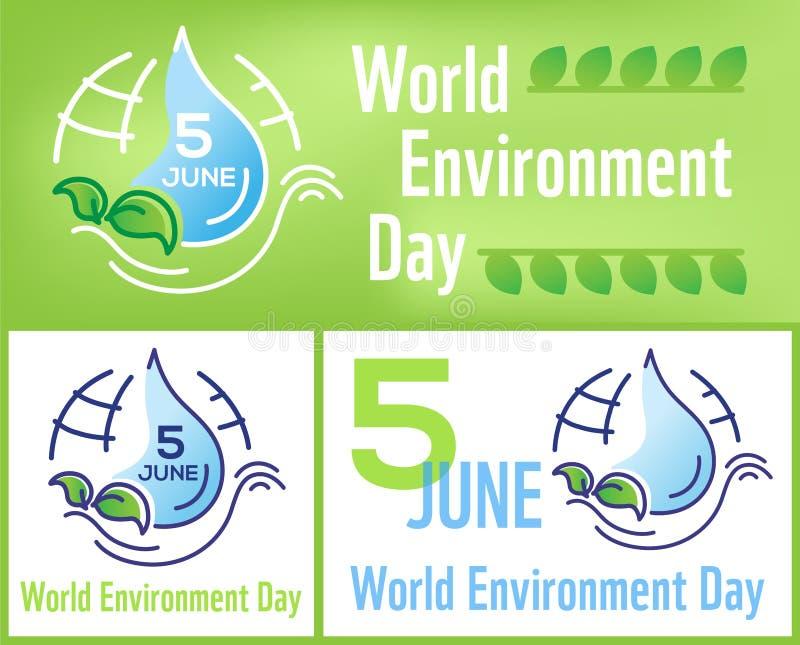 Ustalony horyzontalny, kwadratowy plakata Światowego środowiska dzień z linia rysującą wektorową ilustracją, literowanie i ziemia ilustracja wektor