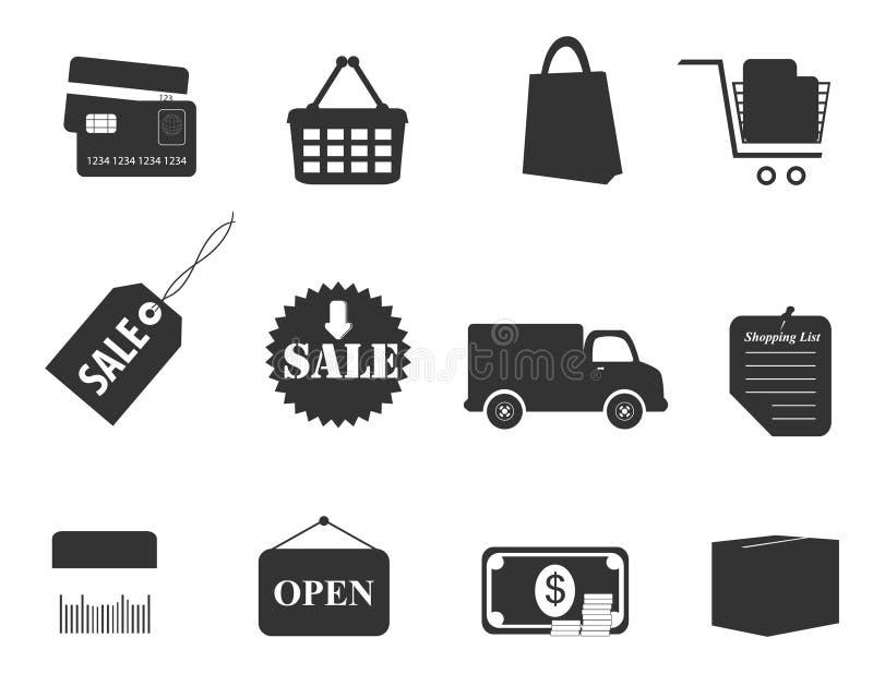 ustalony ikona zakupy ilustracja wektor