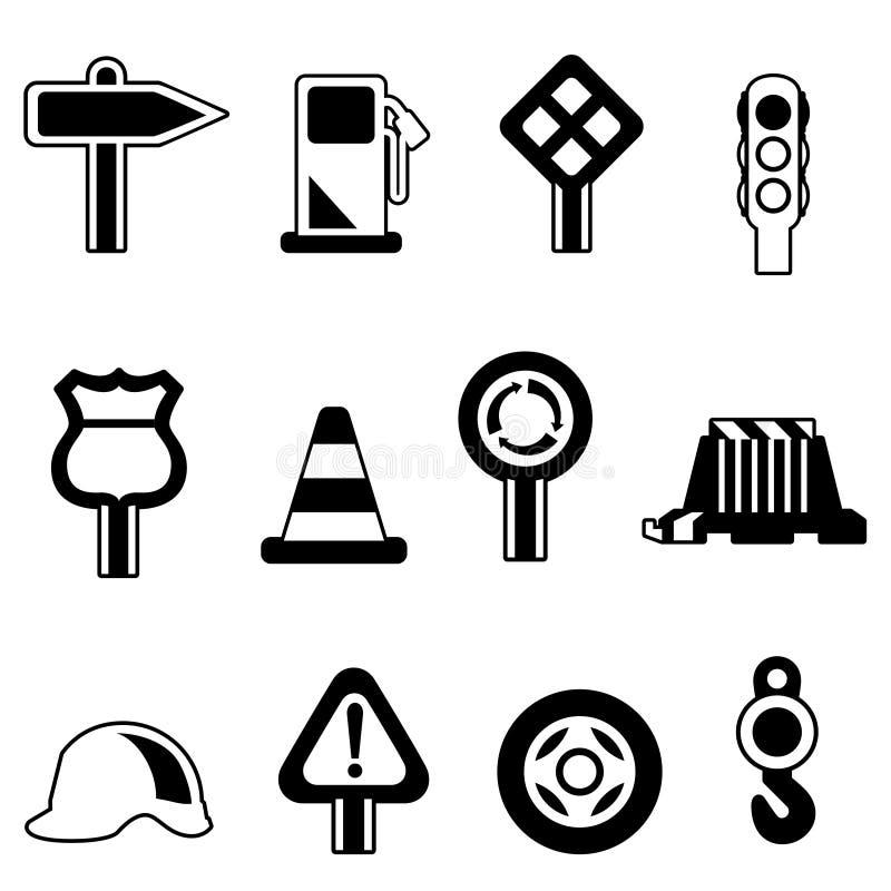ustalony ikony ruch drogowy ilustracji