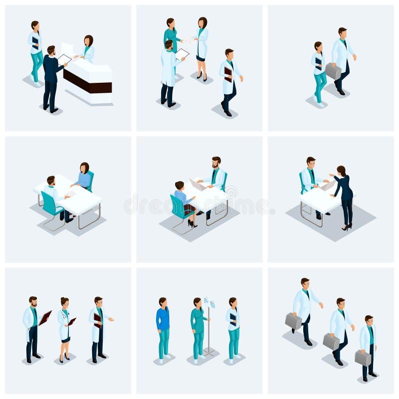Ustalony Isometric przyjęcie przy lekarką wektor ilustracja wektor