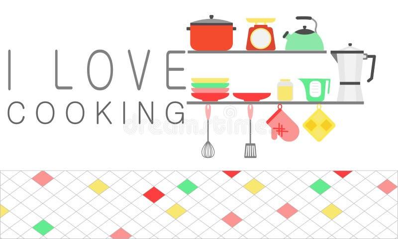 Ustalony kuchenny naczynie na półce Kocham kulinarnego pojęcie ilustracji