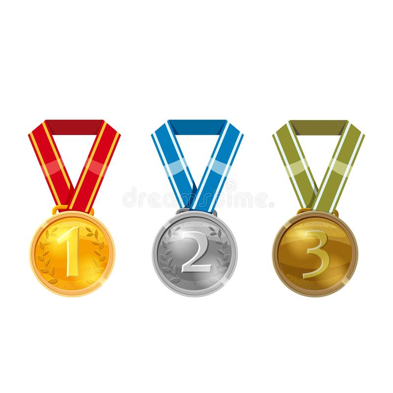 Ustalony mistrza złoto, srebro i brąz, nagradzamy medale z czerwonymi faborkami, wektor odizolowywający ilustracja wektor