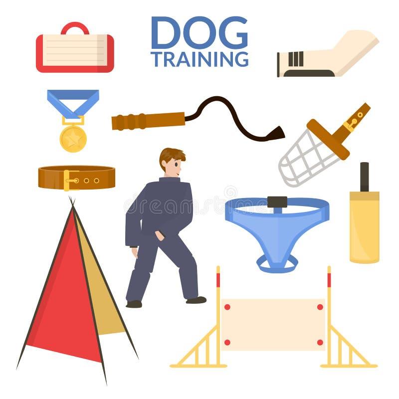 Ustalony przedmiot psi sport Stażowy wyposażenie posłuszny Wektorowy mieszkanie ilustracja wektor