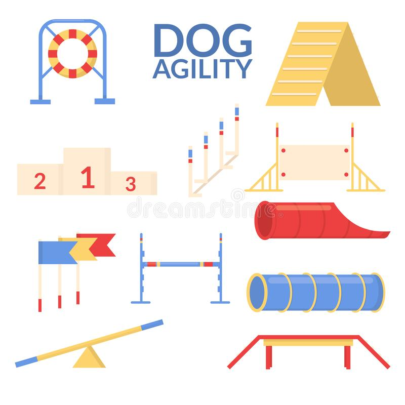 Ustalony przedmiot psi zwinność sport Stażowy wyposażenie Wektorowy mieszkanie royalty ilustracja