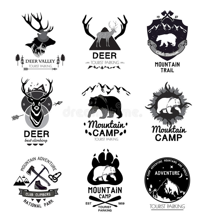 Ustalony retro góra obóz i podróż logo, emblemat, etykietka ilustracji