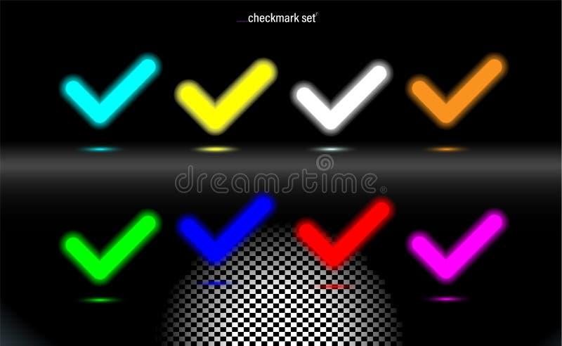 Ustalony rozjarzony lampowy checkmark Stubarwny potwierdza ikony, kleszczowy symbol Nowo?ytny UI element Fluorescencyjna projekt  royalty ilustracja