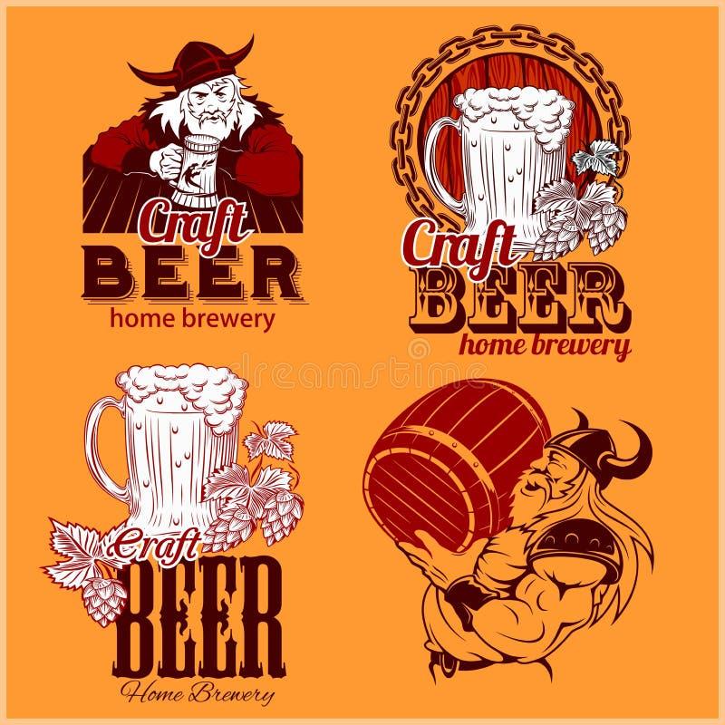 Ustalony rzemiosła piwo i Vikings logo - wektorowa ilustracja ilustracja wektor