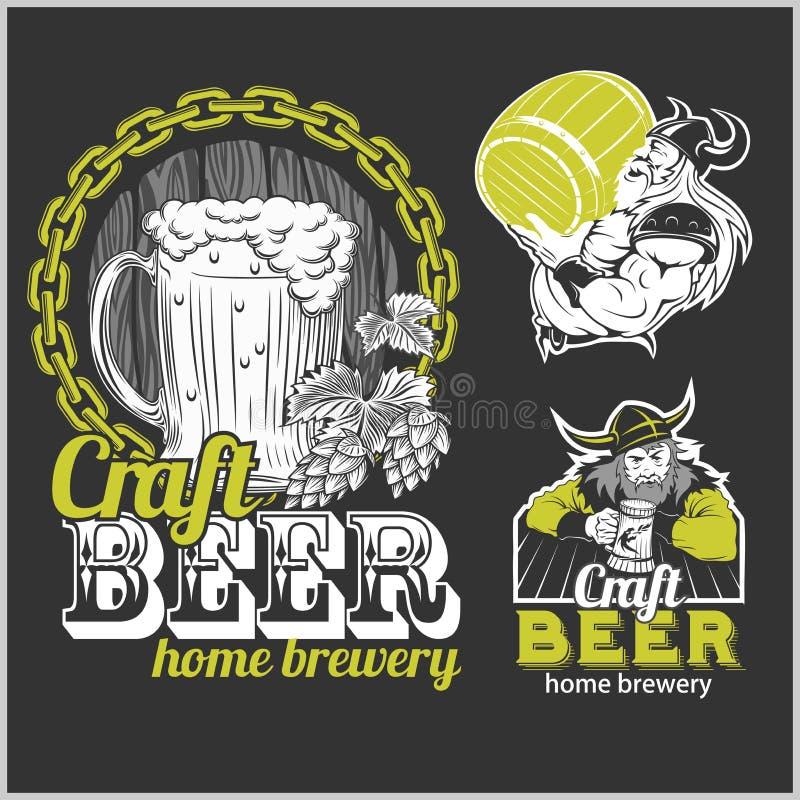 Ustalony rzemiosła piwo i Vikings logo - wektorowa ilustracja ilustracji