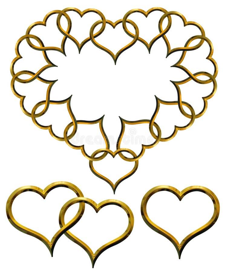 ustalony serca złoty valentine s ilustracja wektor