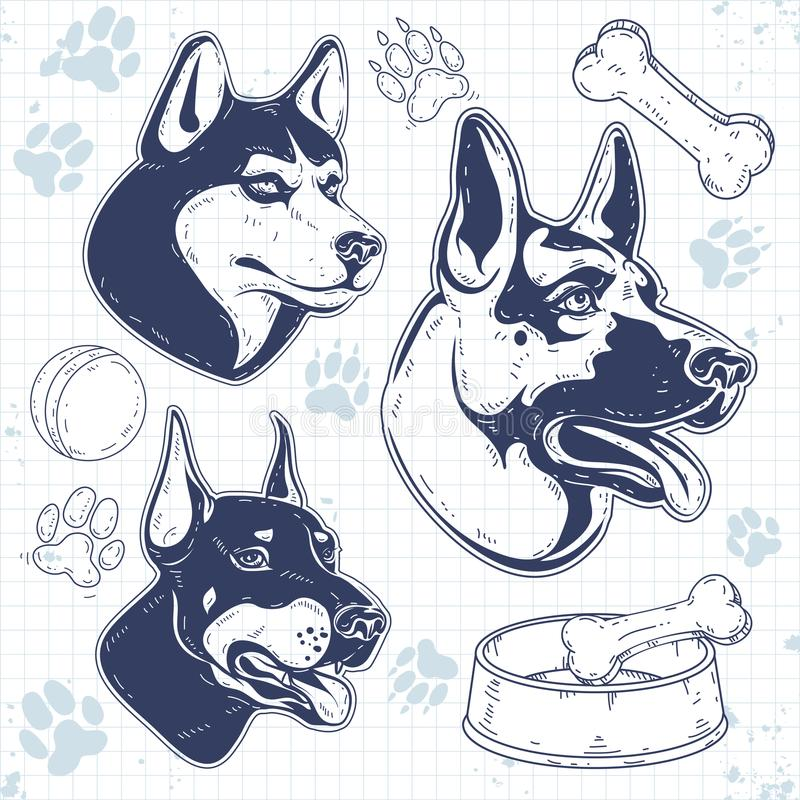 Ustalony strażowy pies hoduje, sylwetki psia głowa, baca, husky, Doberman ilustracja wektor