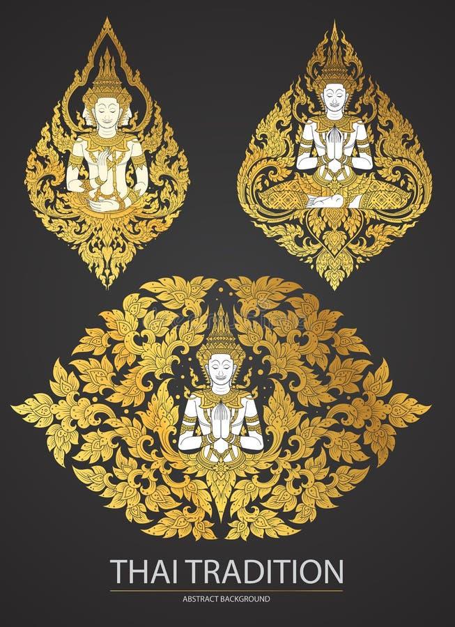Ustalony Tajlandzki sztuka element Tradycyjny Buddha kwitnie ilustracja wektor