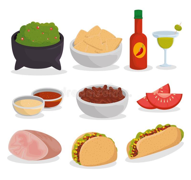 Ustalony tradycyjny meksykański jedzenie wydarzenia świętowanie ilustracji