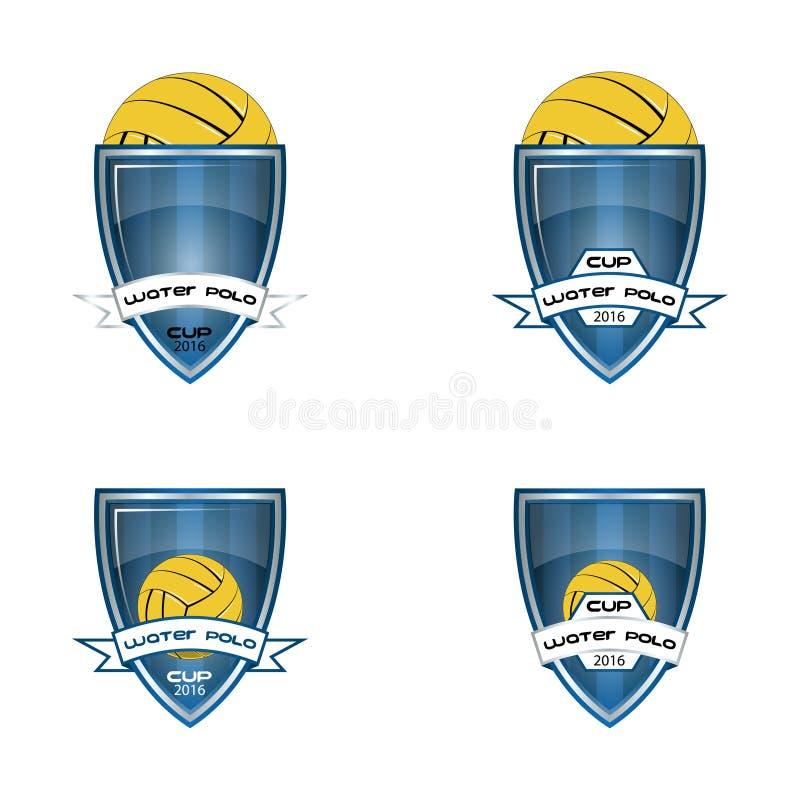 Ustalony wodnego polo logo dla drużyny i filiżanki ilustracji