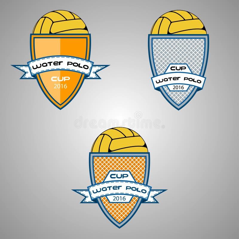 Ustalony wodnego polo logo dla drużyny i filiżanki ilustracja wektor