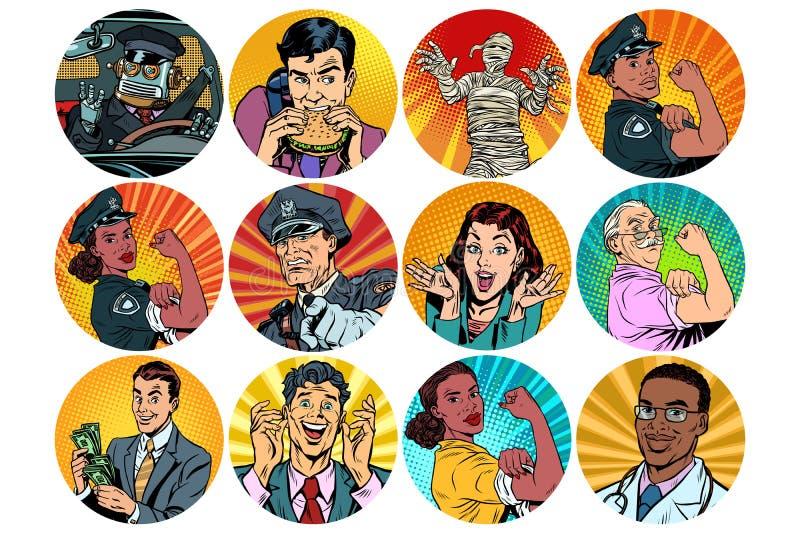 Ustalony wystrzał sztuki ikon charakterów round avatar ilustracja wektor