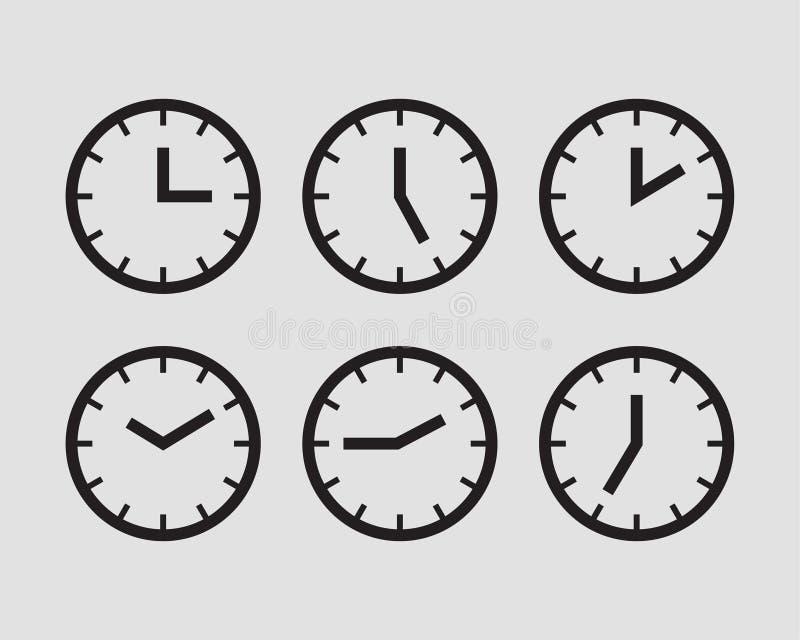 Ustalony zegarowy ikona wektor Czas linii graficznego projekta elementy zegary ilustracji