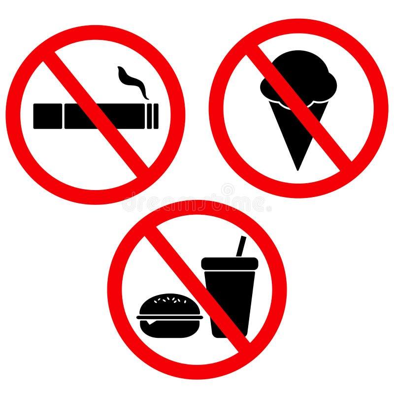 Ustalony znak żadny jedzenie żadny lody żadny dym fotografia stock